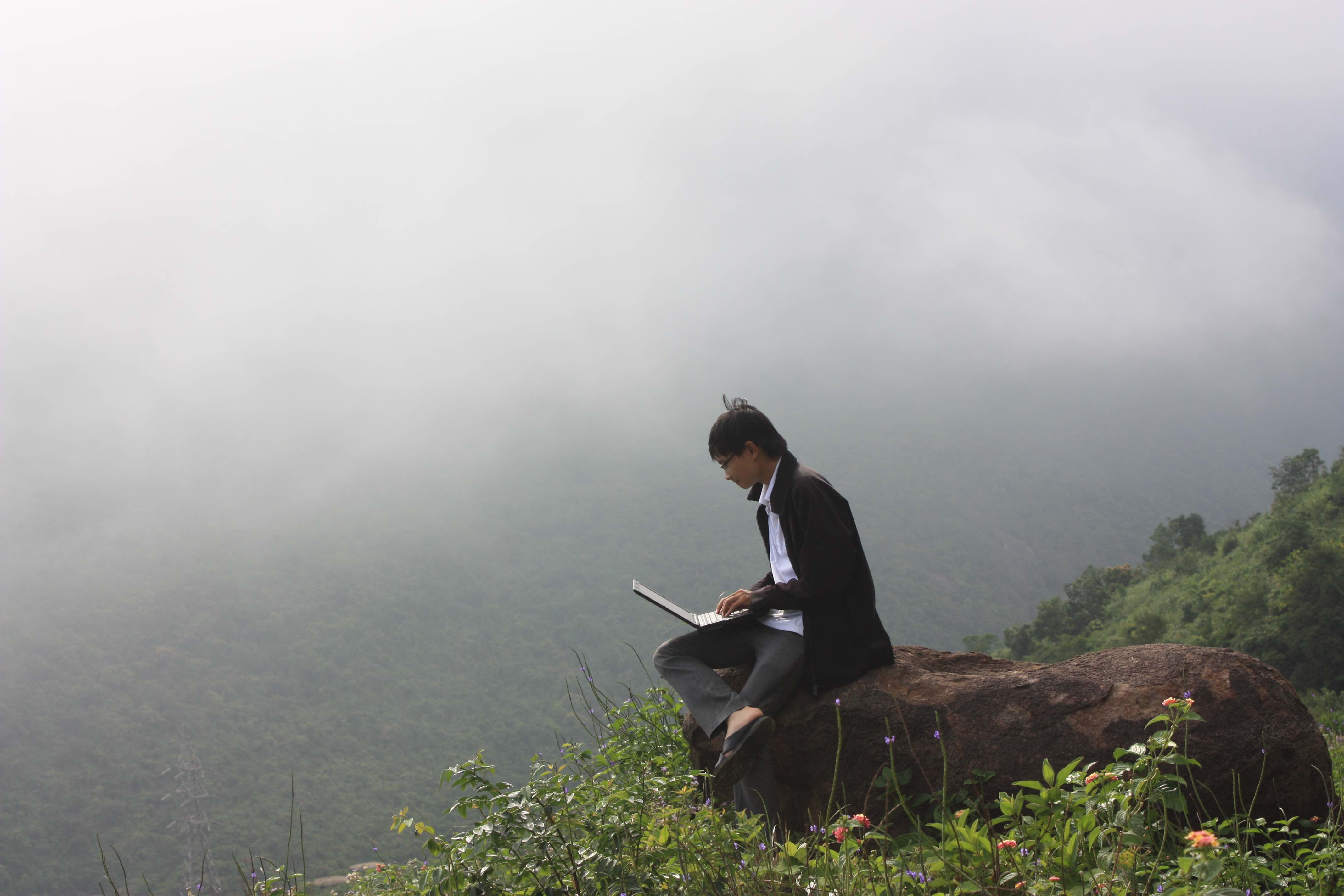 Me coding on a mountain, in 2012